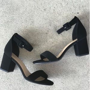 "City Classified Black Cake Ankle Strap 2.5"" Heel"